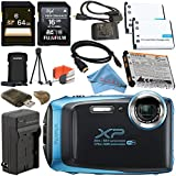 Fujifilm FinePix XP130 Digital Camera (Blue) #600019826 + Fujifilm XP Series Digital Camera Standard Accessory Kit + 64GB SDXC Card + Replacement Lithium Ion Battery + External Charger Bundle
