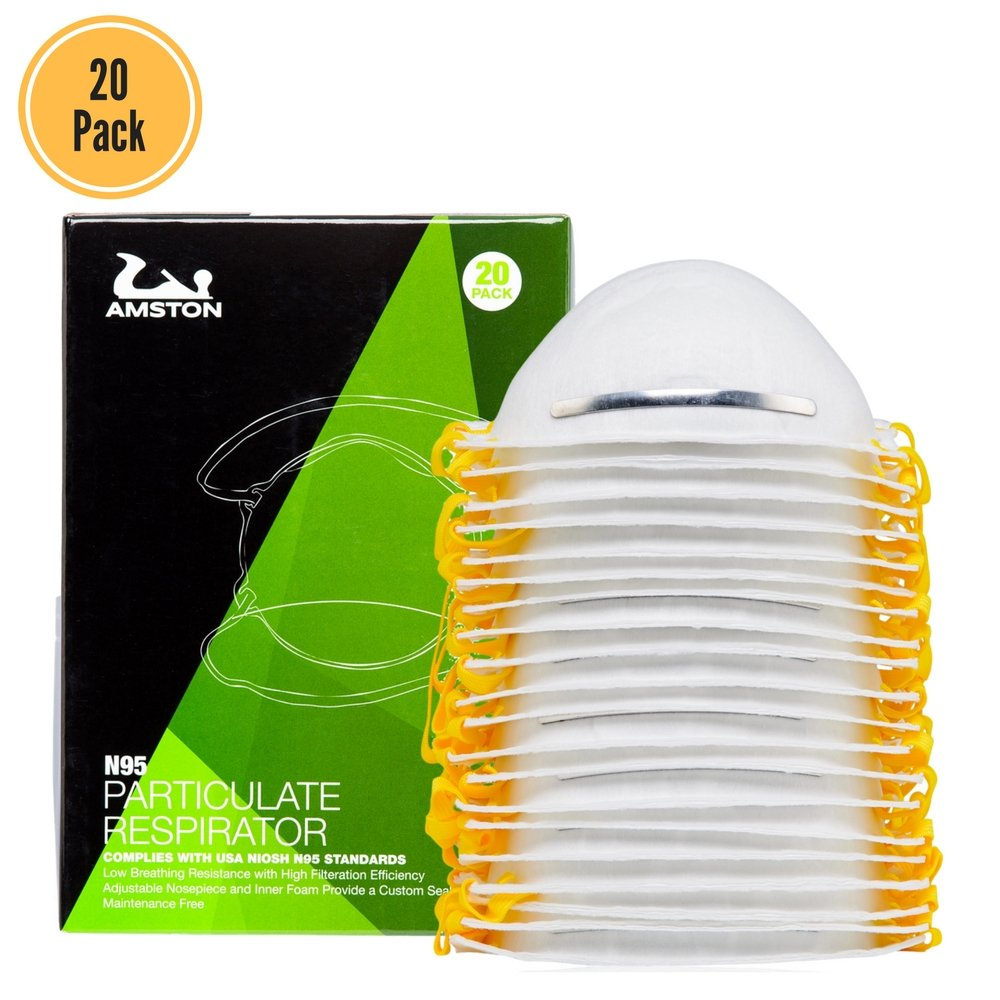 AMSTON N95 Disposable Dust Masks 20 pack - NIOSH-Certified - (Lightweight, Soft, Breathable and Four Layer Dust Mask)