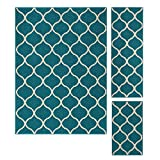 Area Rugs Sets, Maples Rugs [Made in USA][Rebecca] 3 Piece Set Non Slip Padded Large Runner & Rug for Living Room, Kitchen, & Bedroom - Teal/Sand