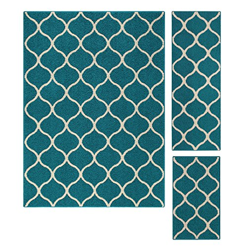 Maples Rugs Area Rugs Sets, [Made in USA][Rebecca] 3 Piece Set Non Slip Padded Large Runner & Rug for Living Room, Kitchen, Bedroom - Teal/Sand - smallkitchenideas.us