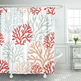 Pink and Red Shower Curtain TOMPOP Shower Curtain Pattern Red Pink and Mint Corals Tropical Reef Nautical Waterproof Polyester Fabric 72 x 72 Inches Set with Hooks