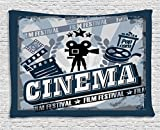 Ambesonne Movie Theater Tapestry, Vintage Cinema Poster Design with Grunge Effect and Old Fashioned Icons, Wall Hanging for Bedroom Living Room Dorm, 60 W X 40 L Inches, Blue Black Grey