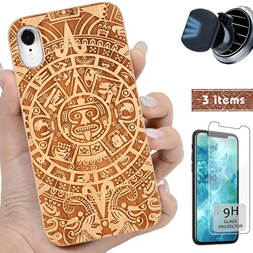 (iProductsUS Totem Phone Case Compatible with iPhone XR,Magnetic Mount and Screen Protector-Wood Case Engrave Mayan Calendar Compatible Wireless Charger,Built-in Metal Plate,TPU Protective Cover (6.1
