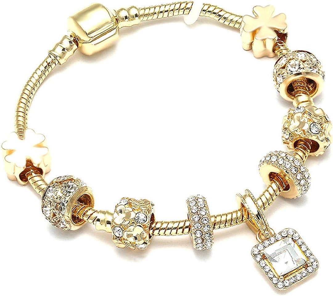 Crystal Heart Gold Color Charm Bracelet For Girl Glass Beads Bracelet For Women DIY Jewelry Gift Light Yellow Gold Color 18cm