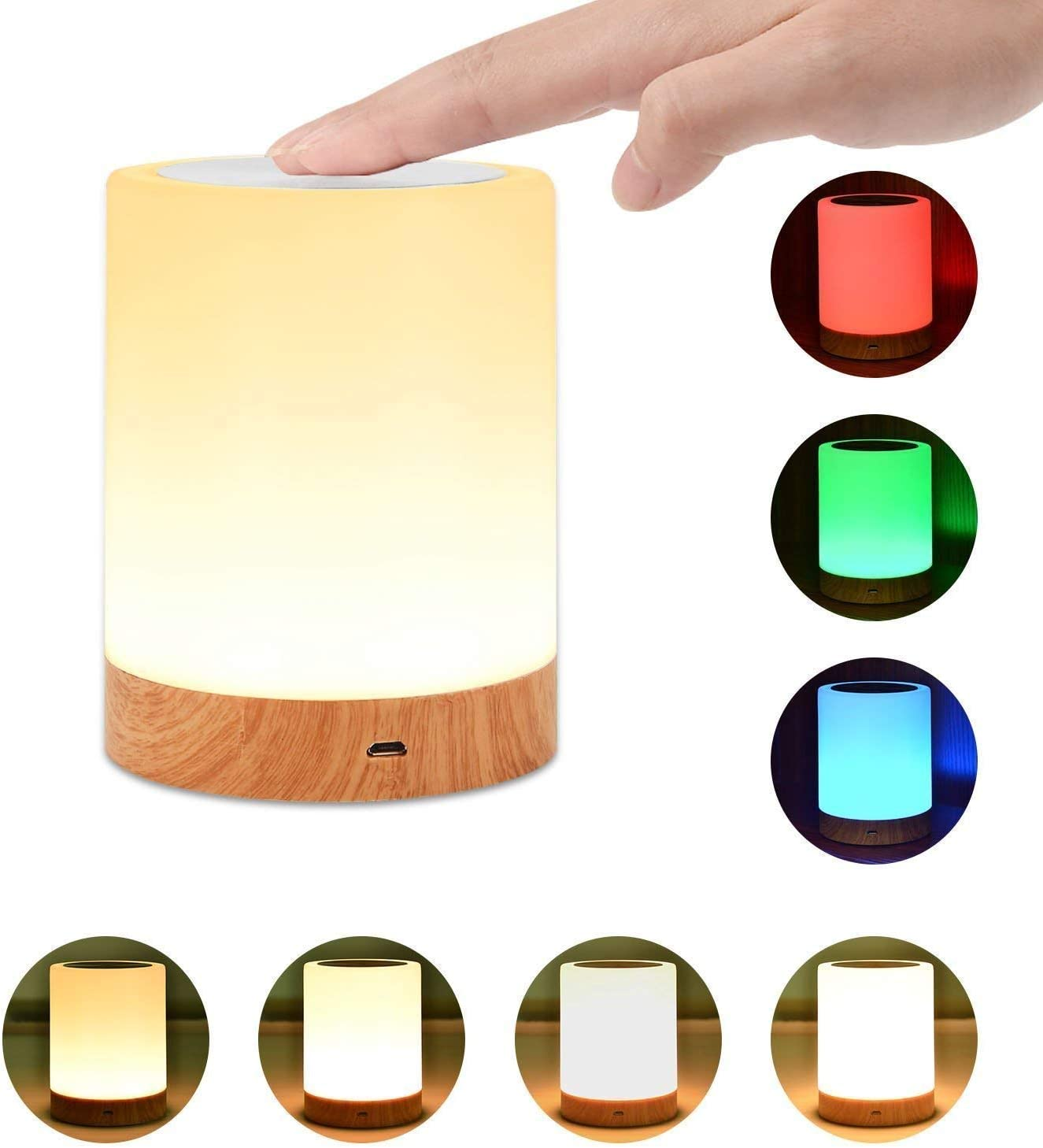 Night Light, UNIFUN Touch Lamp for Bedrooms Living Room Portable Table Bedside Lamps with Rechargeable Internal Battery Dimmable 2800K-3100K Warm White Light & Color Changing RGB - -