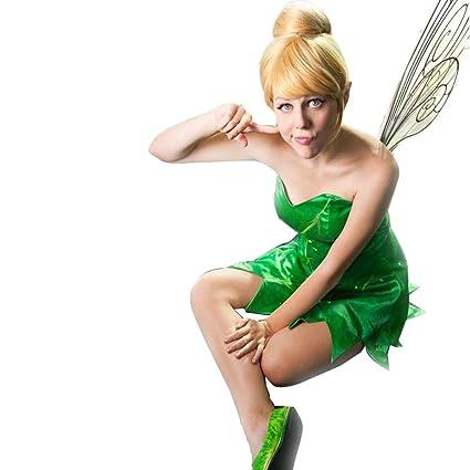 kissmywig Mujer Cosplay peluca recta corta de Tinker Bell con pelo bun sintético Rubio