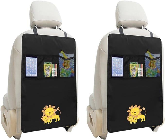 2 X Trittmatten Auto Organizer Wasserdicht Auto Rücksitz Protektoren Mit Mehrzweck Aufbewahrungstasche Organizer Für Ipad Mini Buch Spielzeug Löwen Design Schwarz Auto