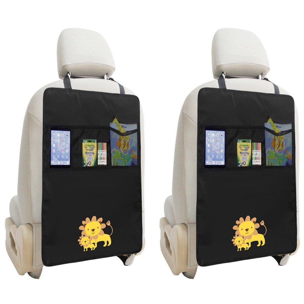 ZUOAO 2 Pezzi Protezione Sedile Auto per Bambini con Tasche, Universal Auto Organizzatore del Sedile Impermeabile, Tappetino Protettore del sedile dell'auto anti-macchia di Piedi dei Bambini (Leone)