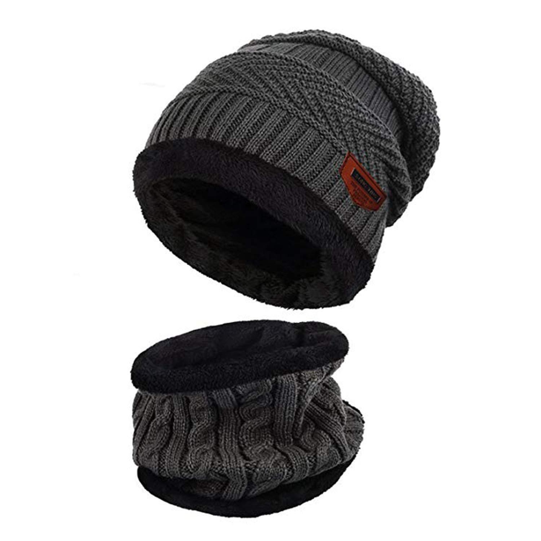 SZSMART Bonnet Chapeau Chaud Tricot et Écharpe avec Doublure Polaire Hiver  Homme Femme Chapeau Beanie Chaud dd9dd061764