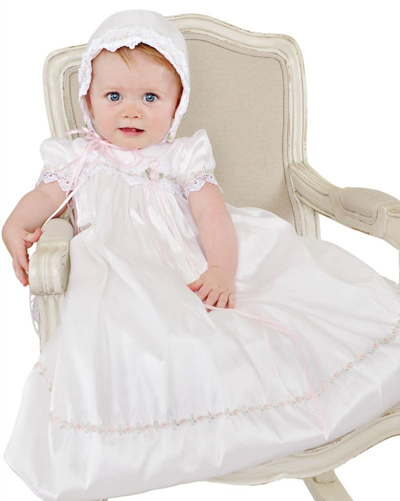 Tess 18 Month Silk Christening Baptism Blessing Gown for Girls, Made in USA