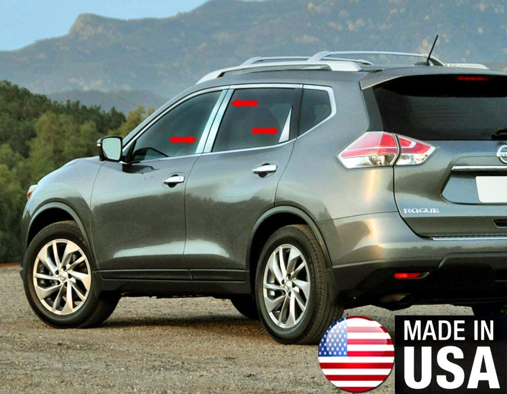 For 2014 Nissan Rogue 6pc Chrome STAINLESS STEEL Pillar Post