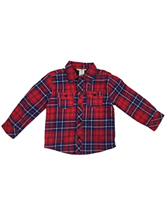 27dcab31 Infant & Toddler Boys Red Plaid Flannel Shirt Jacket with Quilted Lining 2T