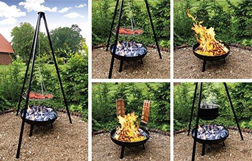 Multi-Grillset OSLO mit Feuerschale Emailletopf Flammlachsbretter Grillrost Flammlachs ideal für die Glühwein Zeit