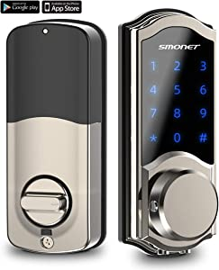 [2020 Newest] Smart Door Lock, SMONET Smart Deadbolt Bluetooth Keyless, Touchscreen Enable Mechanical Keys, Auto Lock, Remote Sharing, Send Ekeys, Free APP Monitoring, for Home,Hotel,Apartment, Silver
