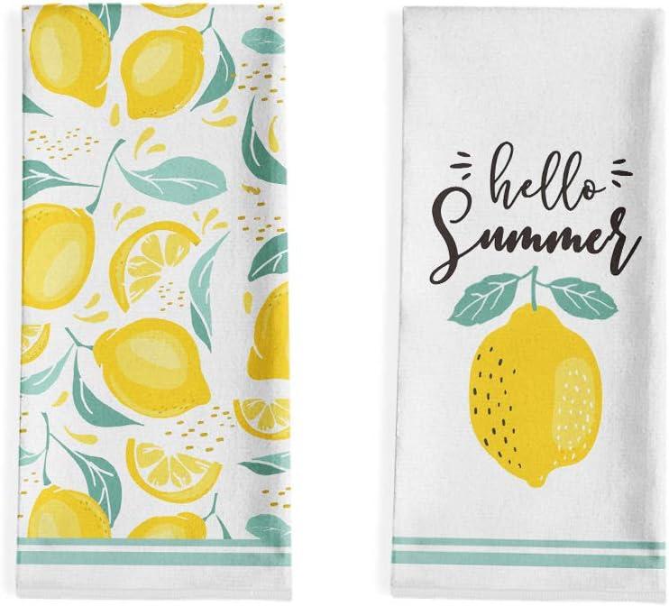 Artoid Mode Hello Summer Lemons Kitchen Dish Towels, 18 x 28 Inch Seasonal Summer Fruit Ultra Absorbent Drying Cloth Tea Towels for Cooking Baking Set of 2