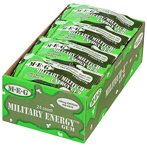 MEG – Military Energy Gum | 100mg of Caffeine Per Piece + Increase Energy + Boost Physical Performance + Spearmint 24 Pack (120 Count)