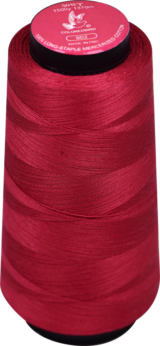 Colored Bird 50WT(50/3) 1500Y100% Double Mercenized-Long Staple Cotton Dark Red Serger Cone Sewing Thread Spools -All Purpose Overlock 100% Cotton Spools (Serger, Single Needle) (Color No,:902) :902) cq
