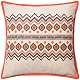 Loloi Poly Set PSETP0161RENAPIL3 100% Cotton Cover with Poly Fill Decorative Accent Pillow, 22'' x 22'', Red/Natural