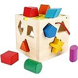 SainSmart Jr. Wooden Shape Sorter 13 Holes Sorting Cube Sorting Box, Cognitive Matching Wooden Toys and Shape Color Recognition