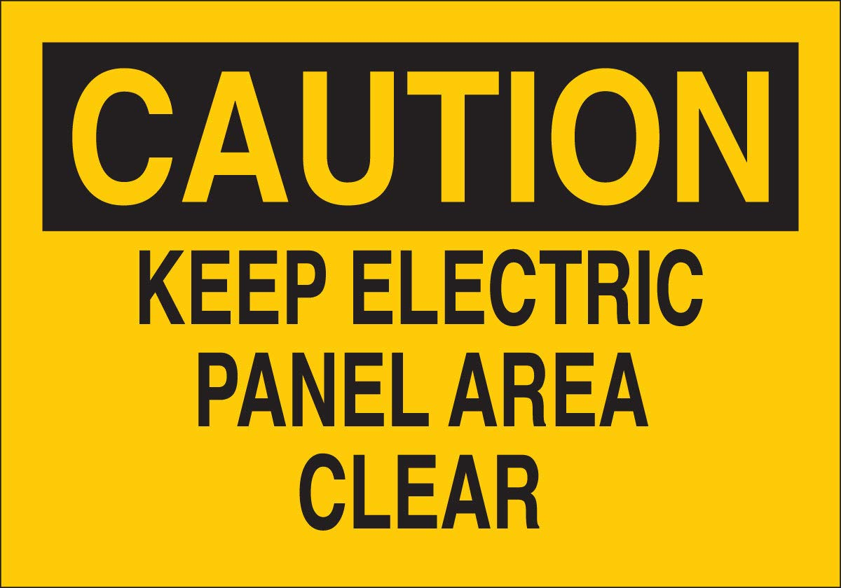 Brady 10'' X 14'' X .06'' Black On Yellow .0591'' B-401 Polystyrene Caution Sign''KEEP ELECTRIC PANEL AREA CLEAR''
