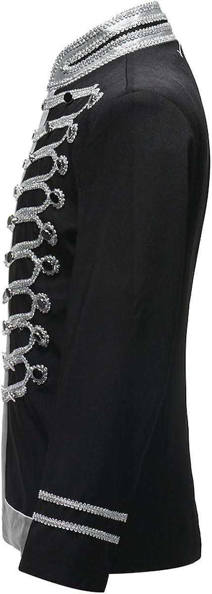 Mens Suits Slim Fit Wedding Party Blazer Dinner Vintage Jacket Tops 1# Black Sliver