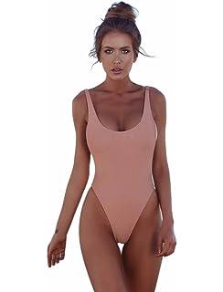 42fd37e70cb COLO Women's One Piece Bikini High Cut Solid Swimsuits Retro Thong Monikini  Cheeky Bathing Suit