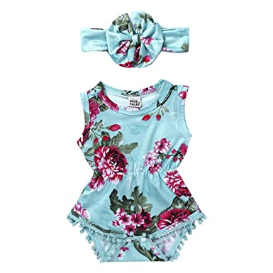 Mother & Kids Girls' Baby Clothing Headbamd Jumpsuit Floral Sunsuit Outfits 2 Pieces Set For Casual Clothing Baby Girl Straps Halter Romper Jumpsuit