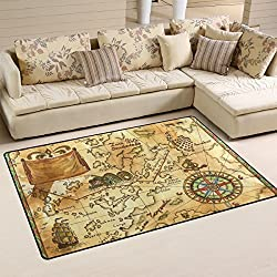 LORVIES Old Pirate Map With Wind Rose Area Rug Carpet Non-Slip Floor Mat Doormats for Living Room Bedroom 60 x 39 inches