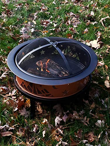 """Catalina Creations AD366 26"""" Round Copper Colored Accented Cauldron, Black - STURDY ELEGANCE: 14"""" Deep x 26"""" Diameter Made with dependable sturdy metal - perfect for larger fires. Comes with three """"4"""" Legs - weighs 8. 8 lbs. ATTRACTIVE DESIGN: This large fire pit has copper colored accent - a welcome addition to any backyard, patio, or porch. FIRE SAFETY: Fire pit includes mesh spark screen with a decorative lip A handle for added safety and beauty - the screen lifting tool provides safe and easy access during a fire. - patio, outdoor-decor, fire-pits-outdoor-fireplaces - 61CZ2GfkhqL -"""