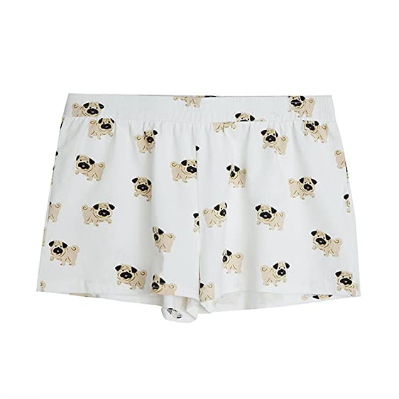 Fashion Culture Womens Pug Print Pajama Lounge Shorts, White (Small)