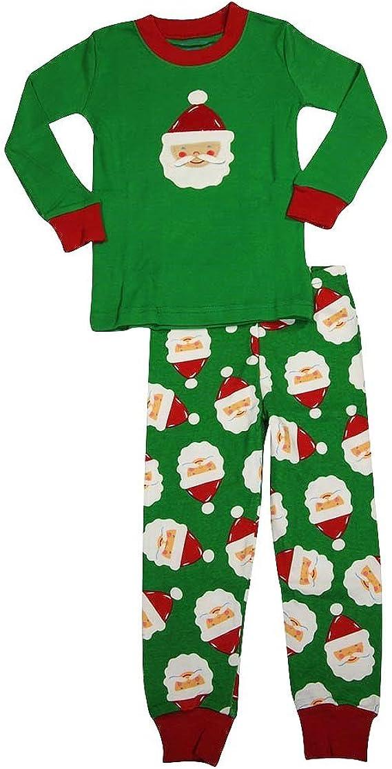 Saras Prints Little Boys Long Sleeve Long John Holiday Pajamas Green 35308-2