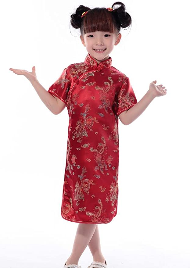 Amazon.com: JTC – Vestido para niñas Dragon Phoenix chino ...