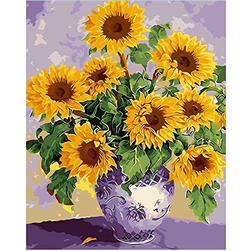 - SUBERY DIY Oil Painting Paint by Numbers Kits for Adults Kids Beginner - Brilliant Sunflower 16x20 inches (Frameless)