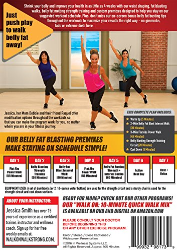 Walk On: Walk Off Belly Fat 5 Days a Week with Jessica Smith, Walking at Home, Interval Low Impact Cardio and Strength Training for Women, Beginner, Intermediate Level 2