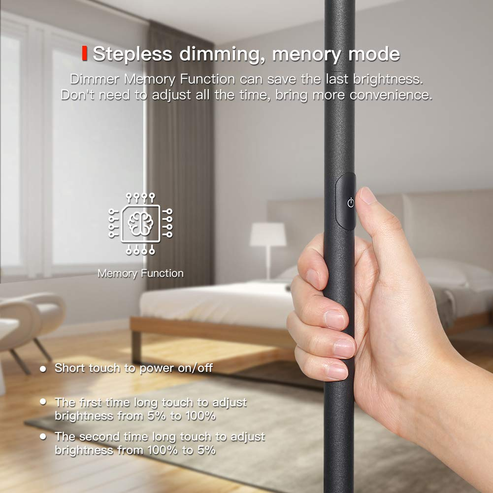 Floor Lamp, LED Torchiere Floor lamp, Tall Standing Uplight Industrial Floor Lamps Stepless Dimmable Modern Pole Floor Light for Living Room Offices Bedroom, TECKIN Daylight Floor Lights Black by T TECKIN (Image #3)