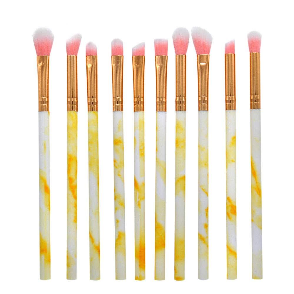 Make up Brushes,Lmtime 10 Pcs Marble Makeup Brush Set Wool Fiber Face Blush Lip Eyeshadow Eyeliner Foundation Powder Cosmetic Brushes Kit (Yellow)
