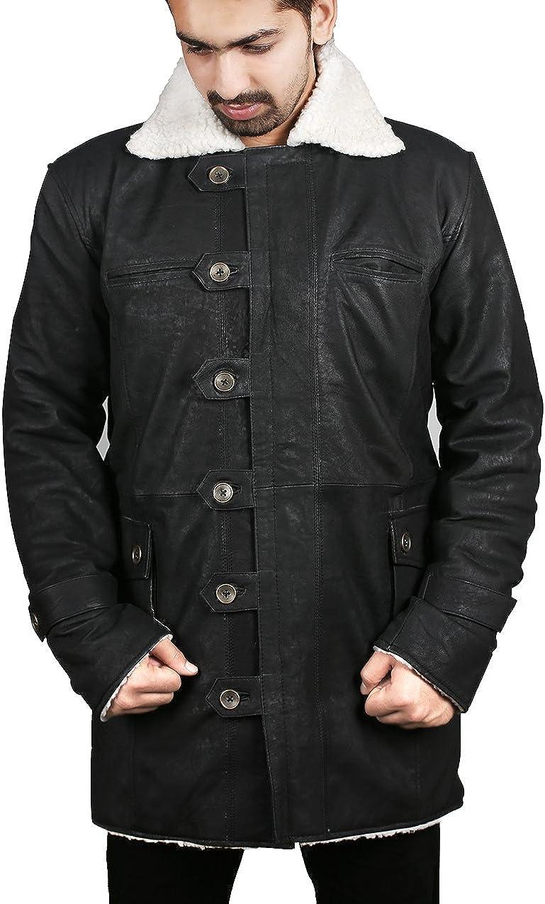 Bane Cappotto 'Tom Hardy Knight Rises Scure' Epoca Giacca Di Pelle Invecchiata Sguardo Disponibile In Nero