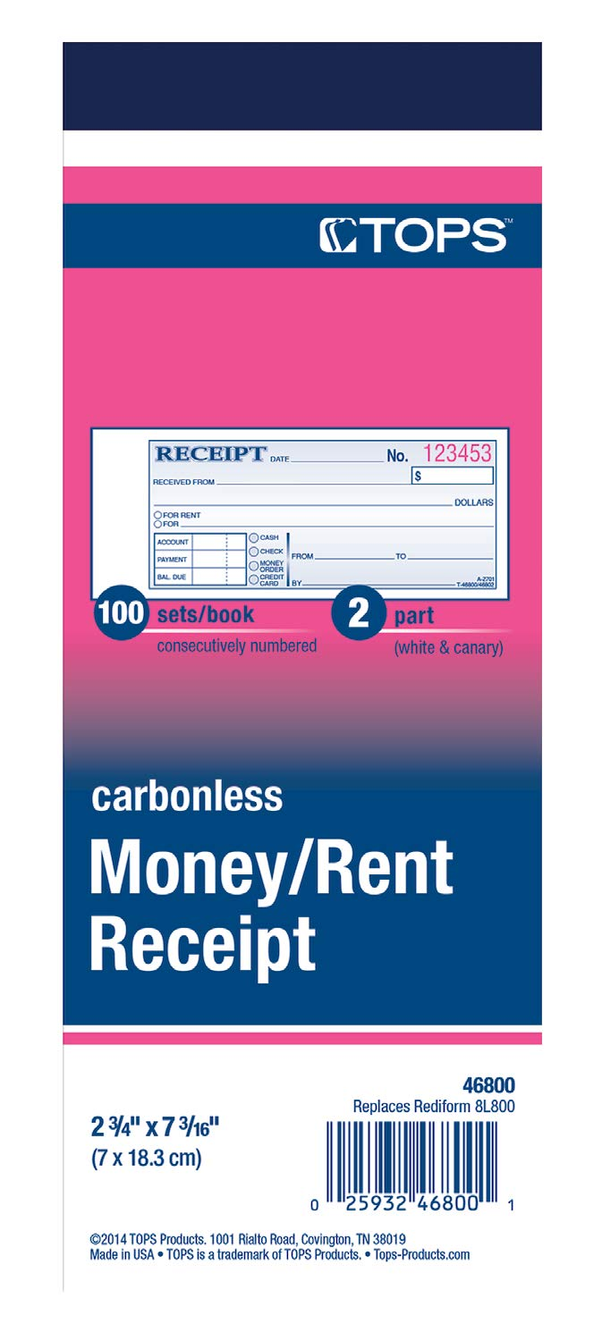 TOPS Money/Rent Receipt Book, 2-Part, Carbonless, 2.75 x 8.5 Inches, 100 Sets per Book (46800) by Tops (Image #2)