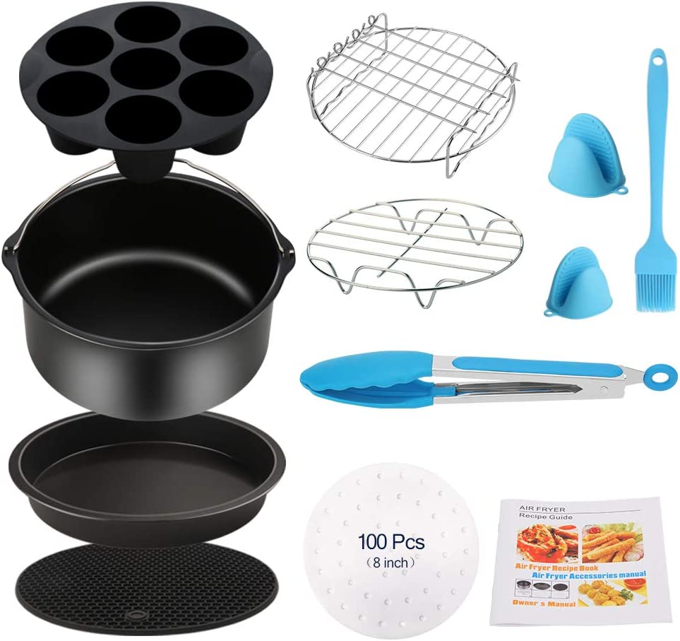 Air Fryer Accessories 11PCS for Phillips Ultrean Ninja Vremi Air Fryer, Fit all 3.7QT-4.0-5.8QT Power Deep Hot Air Fryer with Cake Barrel, Pizza Pan, Oven Mitts, Skewer Rack, Cookbook, 100 Fryer Liners
