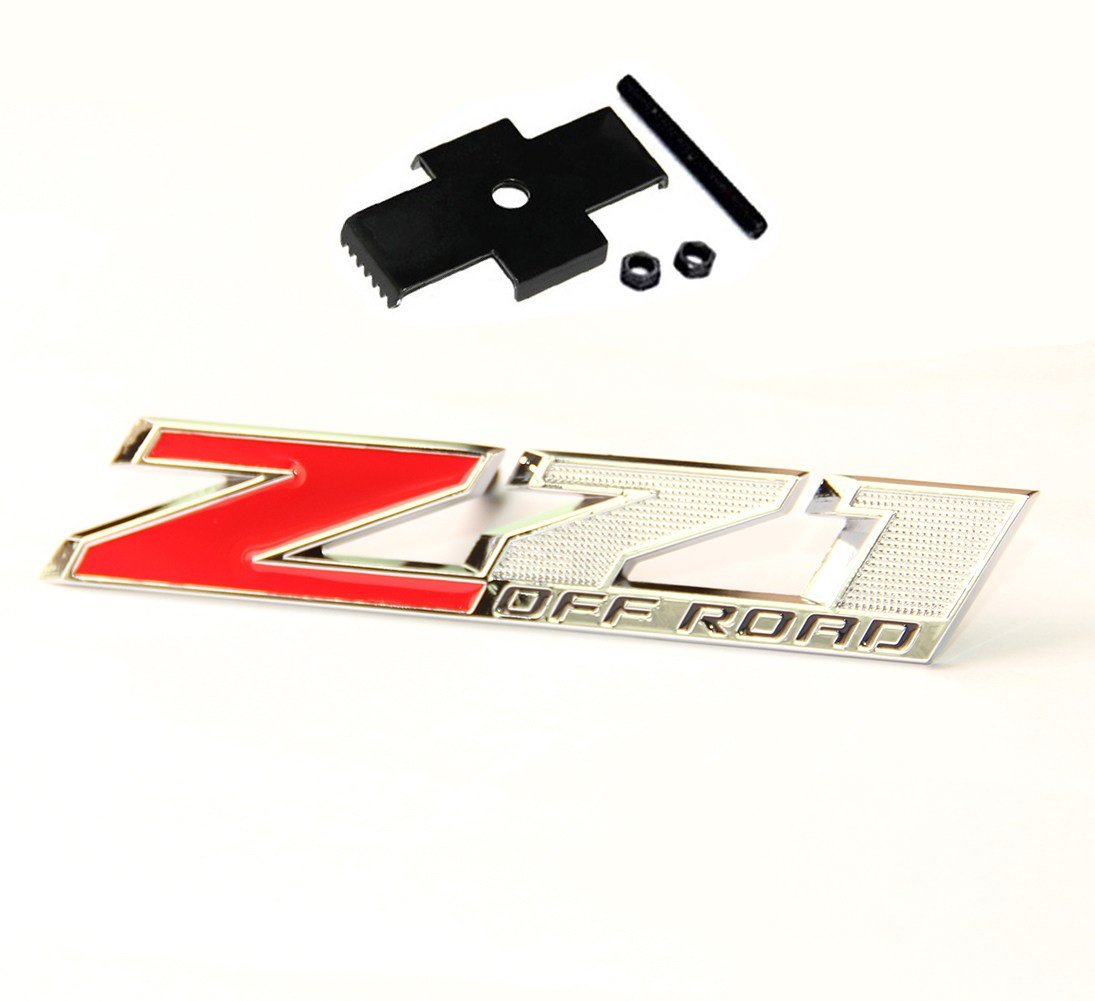 Yoaoo 1x OEM 5 Inches Grille Z71 Off Road Emblems Badge 3D for Silverado 1500 2500Hd Sierra Suburban Colorado Shiny Chrome Black