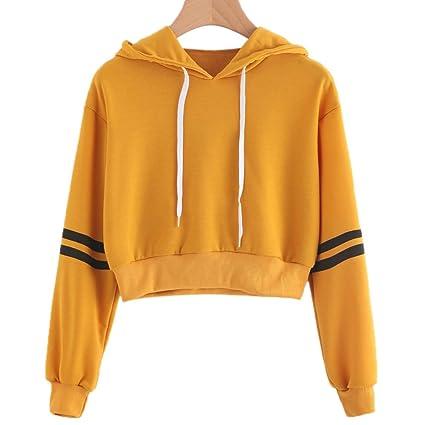 precio competitivo 639ba d932b elegantstunning Camisa Sudadera Suéteres Camiseta Corto de Raya Simple con  Capucha Simple de Manga Larga de Moda para Mujer S