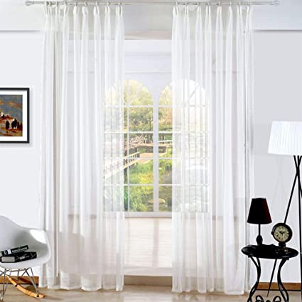 Amazon.com: YQ WHJB Voile Curtains,White Sheer Window ...