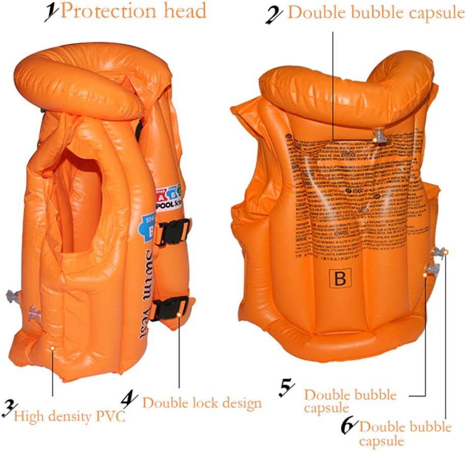 Blue, S Vansoon Inflatable Swimming Pool Vest Buoyancy Jacket,Safe Learn to Swim Training Beanch Swim Vest,Swimming Ring Swim Vest Folat Aid Jecket 3 Sizes for Baby Kids Children