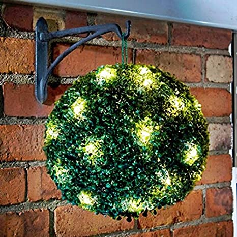 2 x 28CM SOLAR POWERED TOPIARY GARDEN BALL 20 LED LIGHTS DUAL FUNCTION STATIC