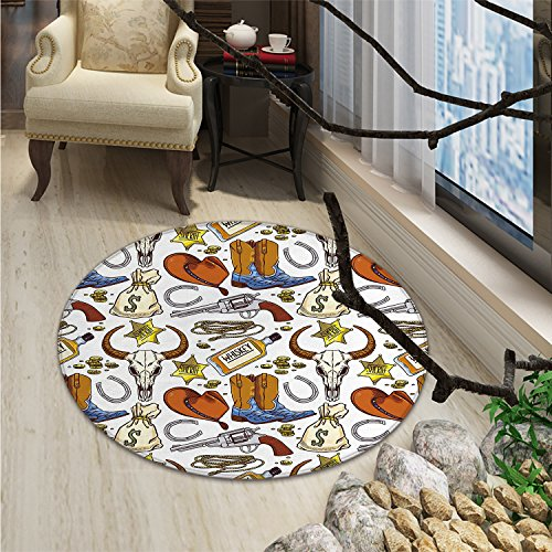 Western Round Area Rug Carpet Cartoon Style Vintage Elements Bag of Money Cowboy Boots Gun Whiskey IllustrationOriental Floor and Carpets ()