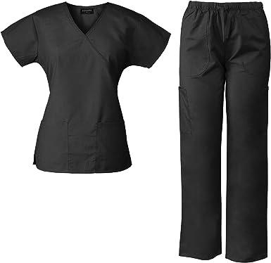Amazon Com Absoluta Scrubs Set Para Las Mujeres Medico Uniforme Enfermera Uniforme 7892 Ab Xl Negro Clothing