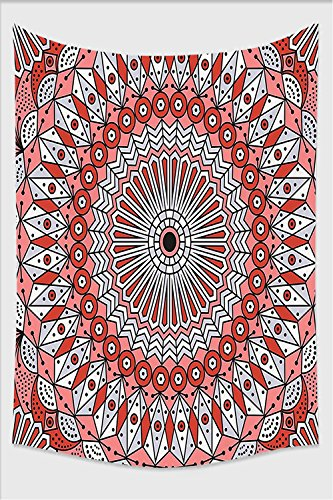Nalahome-Moroccan Decor Collection Colorful Ethnic Patterned Arabesque Ornament Ceiling Medieval Openwork Eastern Image Gray Coral Tapestry Wall Hanging Wall Tapestries 80L x 59W Inches Iron Ceiling Medallions