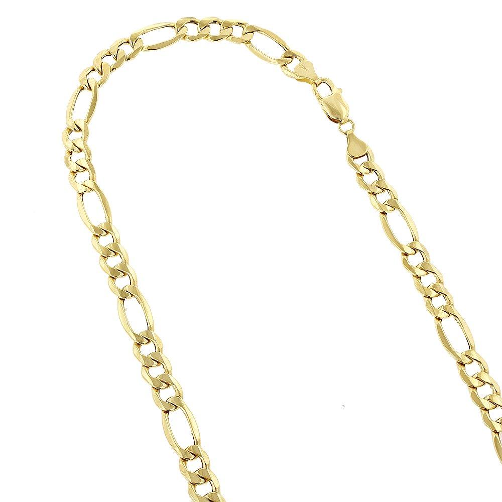 IcedTime 10K 8.5'' Yellow Gold 6.5mm Diamond Cut Figaro Chain Lite Link Bracelet Bracelet Lobster Clasp