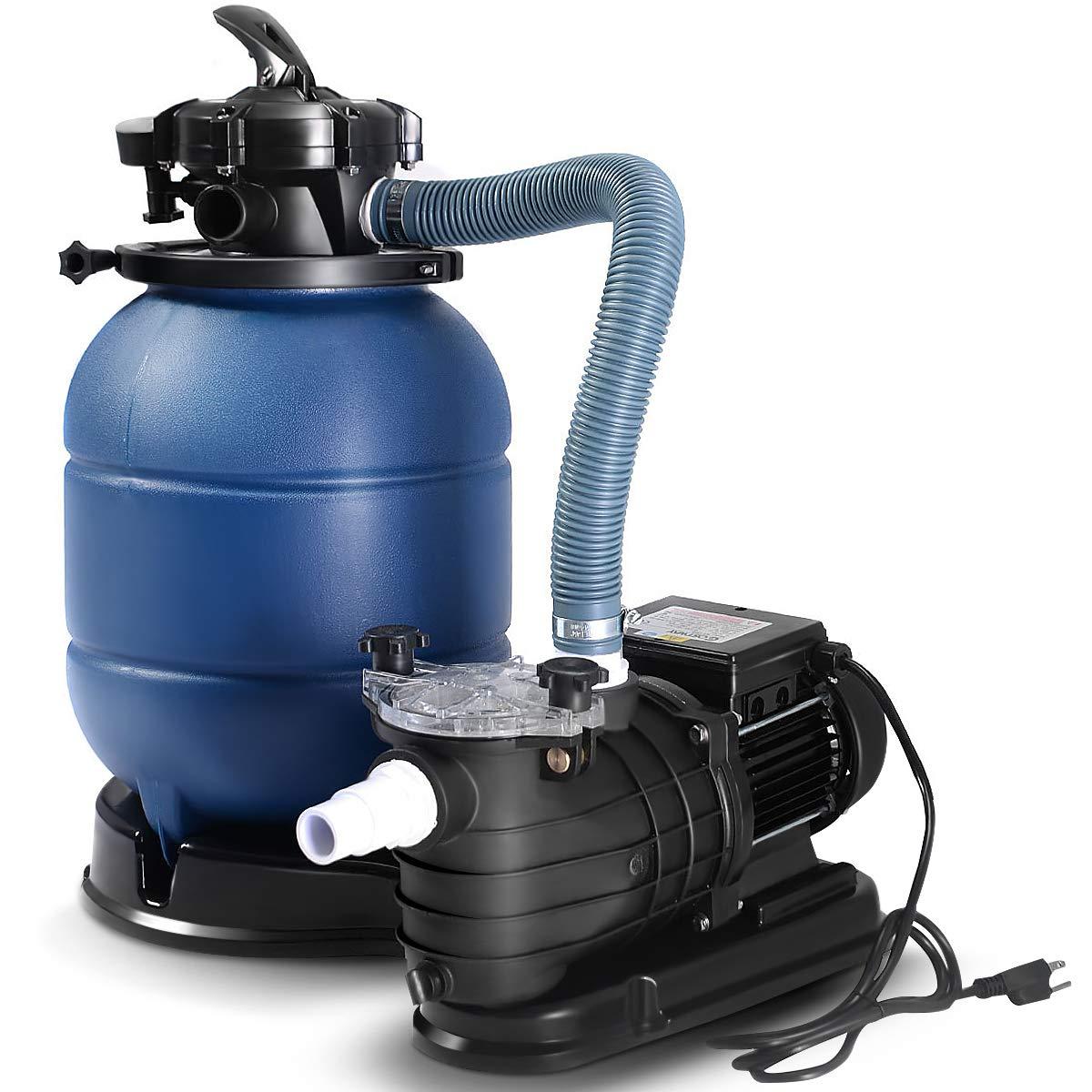 Goplus 13'' Sand Filter Pump for Above Ground Pools 2450GPH Swimming Pool Pump w/Pressure Gauge, 10000GAL by Goplus