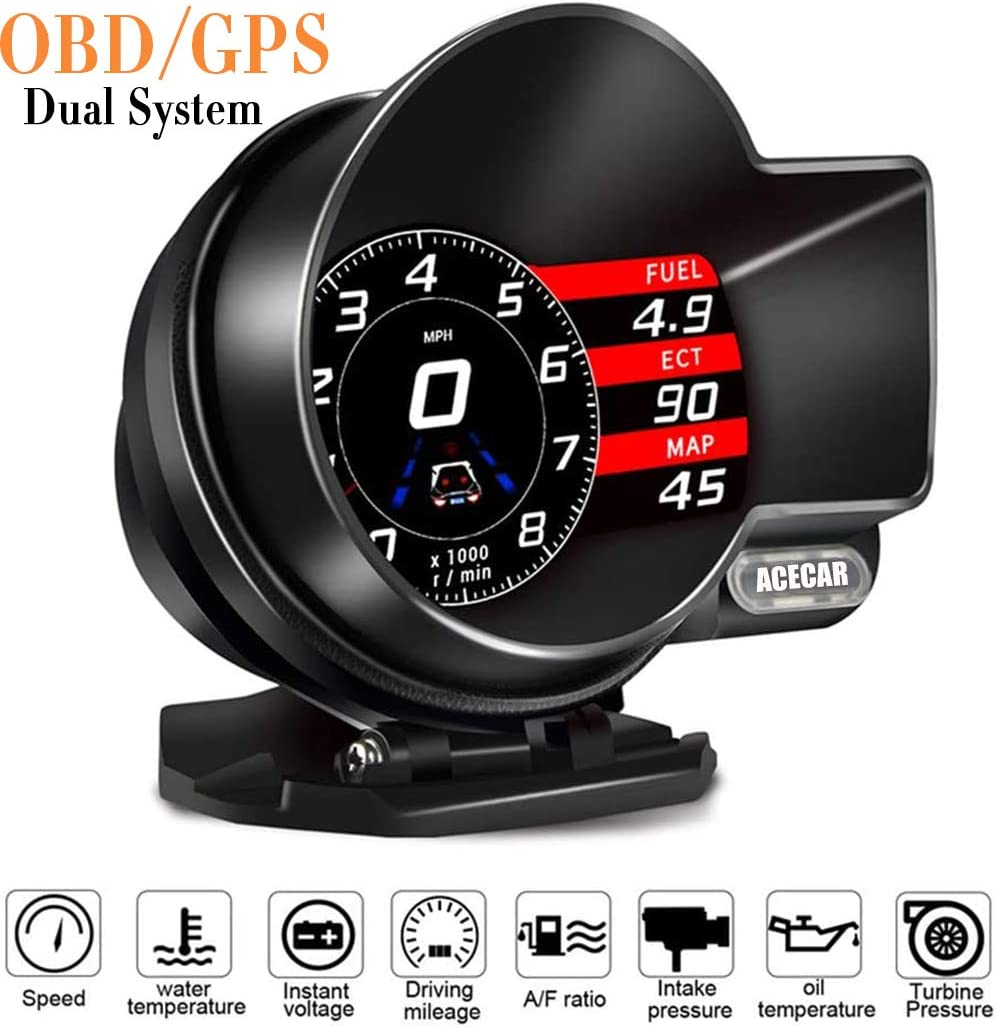 ACECAR F8 Universal Car HUD Dual System Head Up Display Digital OBD/GPS Speedometer